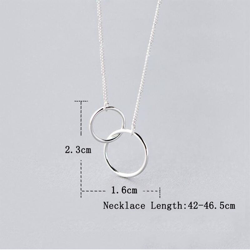 Anenjery Double Circle Interlock Clavicle Short Necklace Silver Color Necklace For Women collares erkek kolye S-N191 Uncategorized Brand Name: anenjery