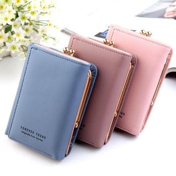 New cute women's wallet fashion mini clutch bag PU leather double fold credit card holder purse