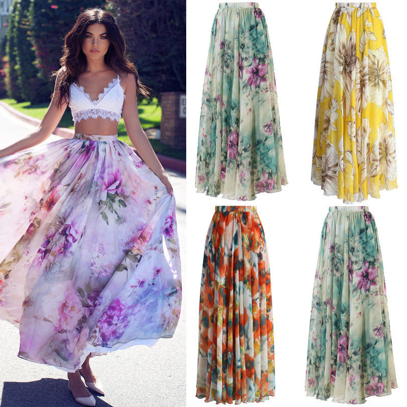 BOHO Chiffon Womens Floral Jersey Gypsy Long Maxi Skirt Full Casual Sundress Ladies Print Skirt