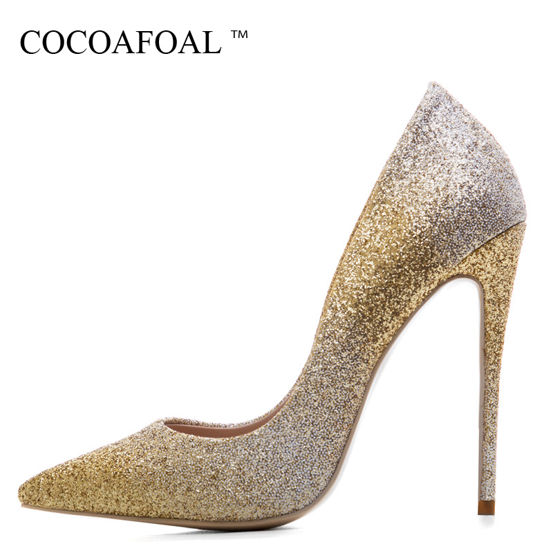 COCOAFOAL Woman Silver High Heels Shoes Stiletto Plus Size 33 43 44 Wedding Silver Gold Pumps Pointed Toe Sexy Valentine Shoes цена