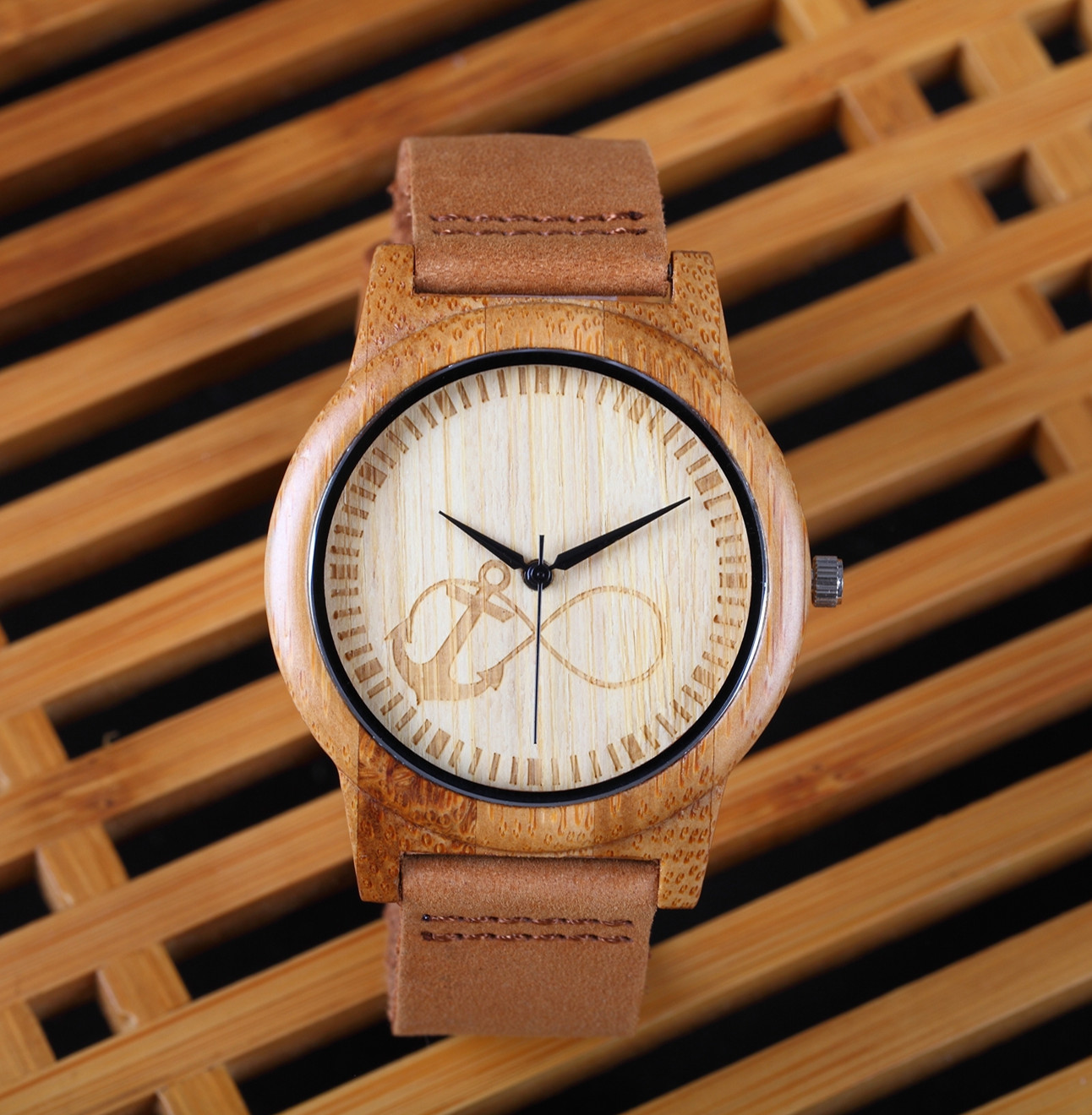 New Top Brand Anchors Design Bamboo Wood Watches Japan Quartz Wood Bamboo Wristwatches Genuine Leather Men Women Luxulry Watches bobo bird brand new sun glasses men square wood oversized zebra wood sunglasses women with wooden box oculos 2017