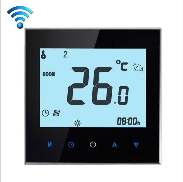Сенсорный экран Недельная программа Wi-Fi термостат для электрического нагревательного 16a Дистанционное Управление по IOS или Android телефон не ...