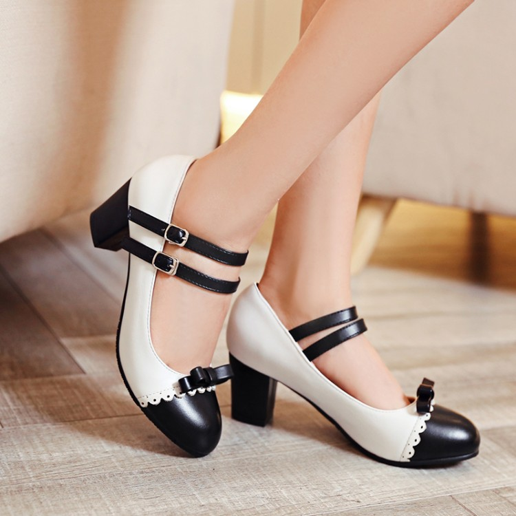 Image 2 - Big Size 11 12 ladies high heels women shoes woman pumps Button tied single shoe with round head and color matchingWomens Pumps   -