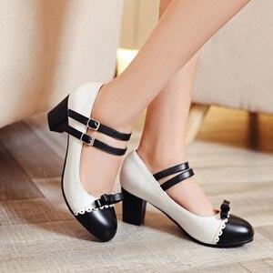 Image 2 - Size Lớn 11 12 Nữ Giày cao gót nữ giày nữ người phụ nữ bơm Nút buộc đơn giày có đầu tròn và màu sắc phù hợp