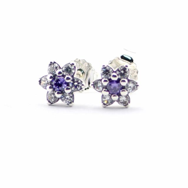 2016 Spring Jewelry Forget Me Not Earrings For Women Jewelry 925-Sterling-Silver Purple&Clear CZ Earring Women Fine Jewelry