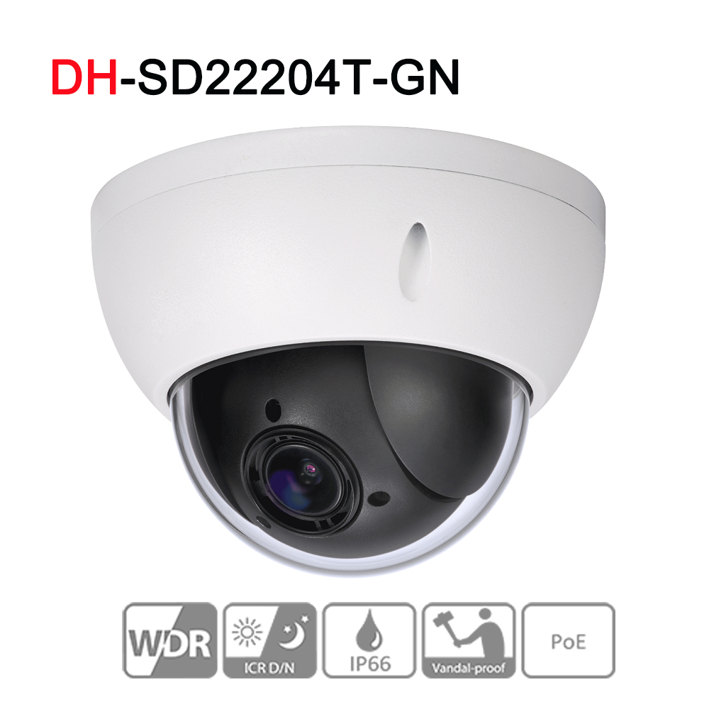 SD22204T-GN 2MP 1080P 4X Optical Zoom High speed PTZ Network IP Camera Triple-streams WDR ICR Ultra DNR IVS POE IP66 IK10 original dahua 1080p mini ptz ip camera dh sd22204t gn 4x zoom hd network speed dome camera onvif sd22204t gn with power supply
