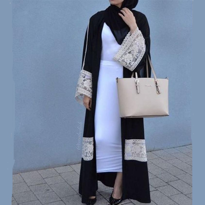 d050065bb9588 2018 new Adult Casual lace Robe Musulmane Turkish Dubai Fashion Abaya Muslim  Dress lace Robes Arab Worship Service W1719