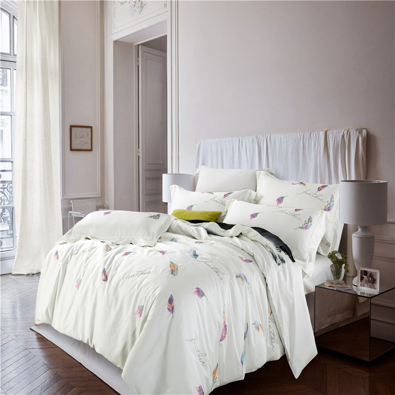 Hotel Collection King Size Quilts: IvaRose 100% Cotton Bedding Set Feather White Embroidered