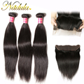 Nadula Hair Indian Straight Lace Frontal 100% Swiss Lace Indian Straight Hair Virgin Frontals 13x4 Lace Frontal With Bundles