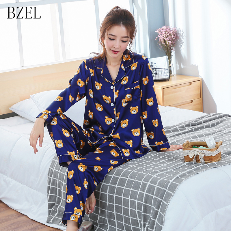 BZEL   Pajama     Set   Silk Home Suit Cartoon Bear Pyjamas Women Long Sleeve Nightly Turn-down Collar Womens Pijama Mujer Home Clothing