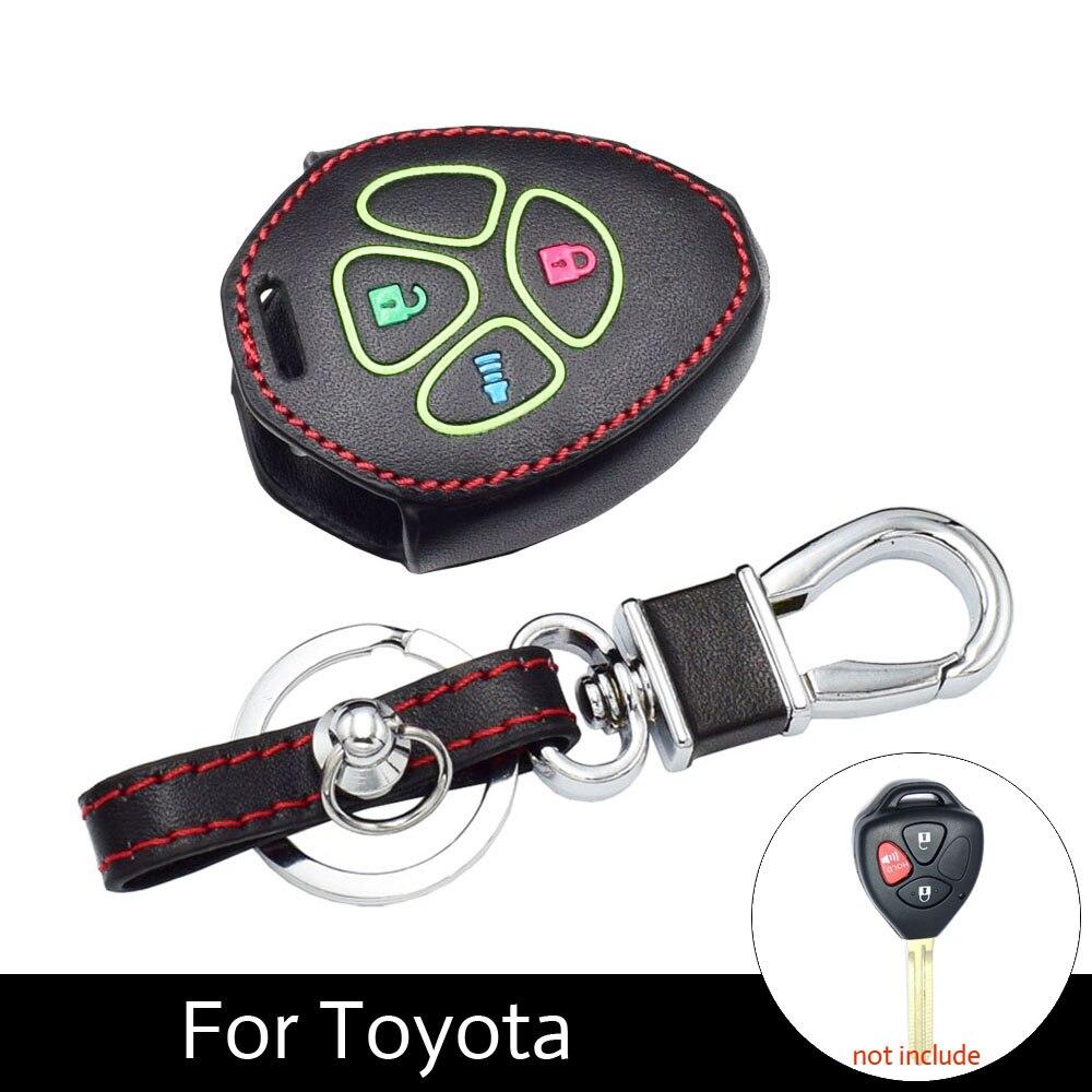 ATOBABI Genuine Leather Luminous Car Key Case For Toyota Camry Scion Tc Avalo Corolla Matrix Rav4 Venza Yaris 3 Buttons Keys