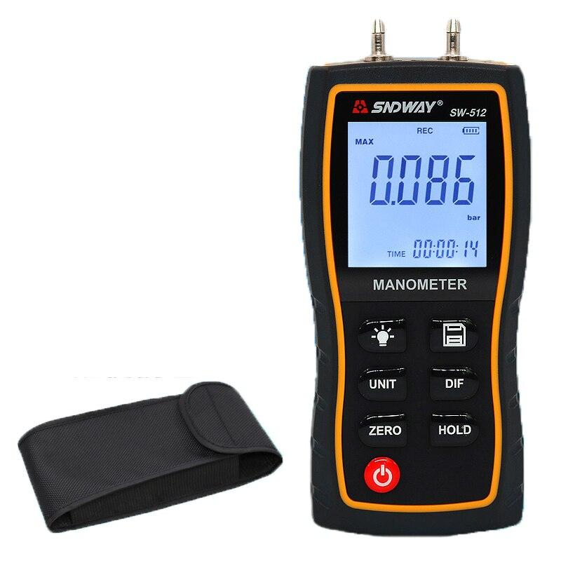 SW512 SNDWAY Digital Manometer Air Pressure Gauge Handheld Digital Differential Natural Gas Pressure Meter Measurement Dropship