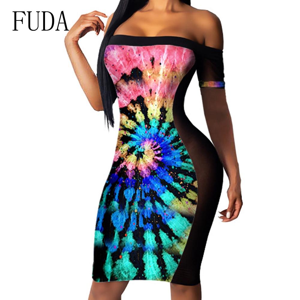 FUDA Rainbow Color Tie Dyed Printed Mesh Sexy Nightclub Dress Fashion Summer Sleeveless Off Shoulder Slim Dress Female Vestidos in Dresses from Women 39 s Clothing