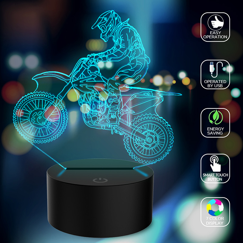 Motocross Bike Night Light Christmas Xmas Touch Control Gifts Home Decor Table Lamp 3D LED Modern Art Kid Kids Boy Atmosphere