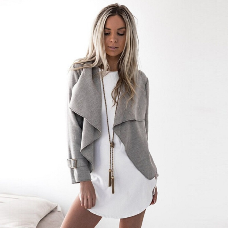 Women Turn Down Collar Jacket Coat Casual Long Sleeve Ruffled Lapel Cardigan Jacket 2018 Fashion Little Coat 17703