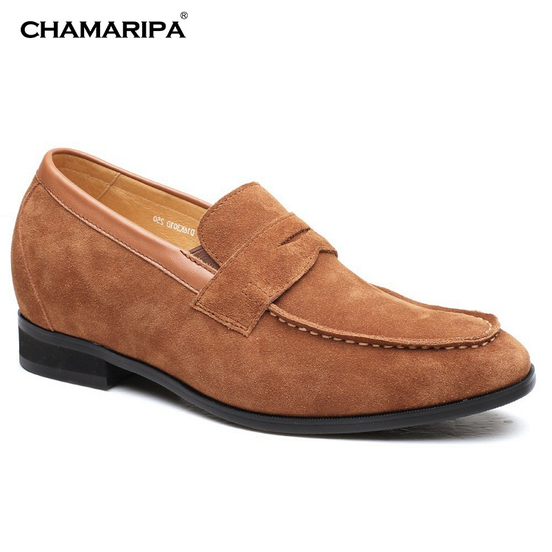 CHAMARIPA Men  Elevator Shoes Suede Leather Casual Driving Shoes Increase Height 7cm/2.76 inch  H72D16K301D chamaripa increase height 7cm 2 76 inch elevator shoes increase height shoes men business formal black shoes
