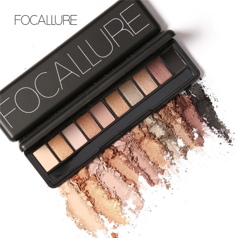 FOCALLURE Earth Colored Pearl Matte Light Warm Smoke Color 10 Color Eye Shadow Waterproof Makeup Nude