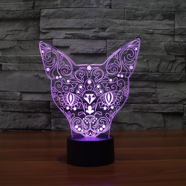 Nave de la gota Chrismas Creativo Totem Animal Gato Luz de La Noche de La Lámpara 3D LED Luz de La Noche de Acrílico Gradiente de Colores Iluminación de La Atmósfera