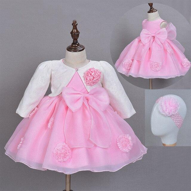 6c0b3b57f 3 piezas conjunto bebé niña vestido princesa boda vestidos de bautizo niños  Frocks vestido con Banda