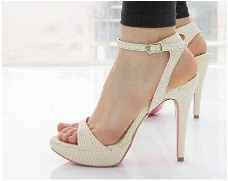 Blanco Sandalias de Tacón de Aguja A Prueba de agua Zapatos de Mujer de Moda de