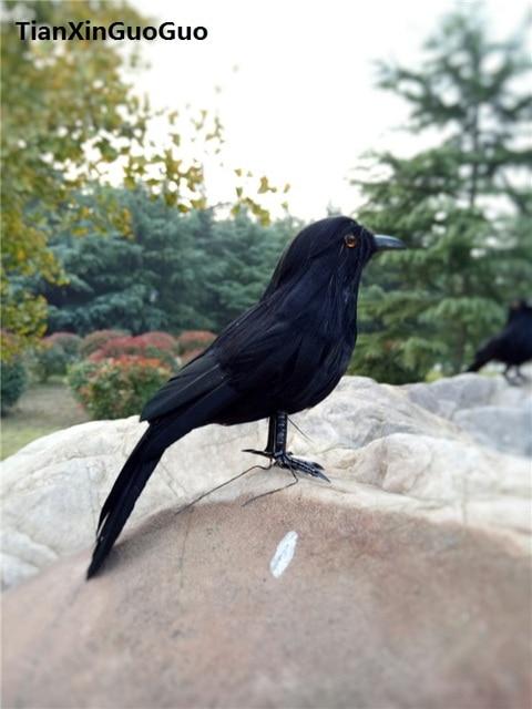 black crow hard model,simulation bird small 12cm prop garden decoration gift s0316