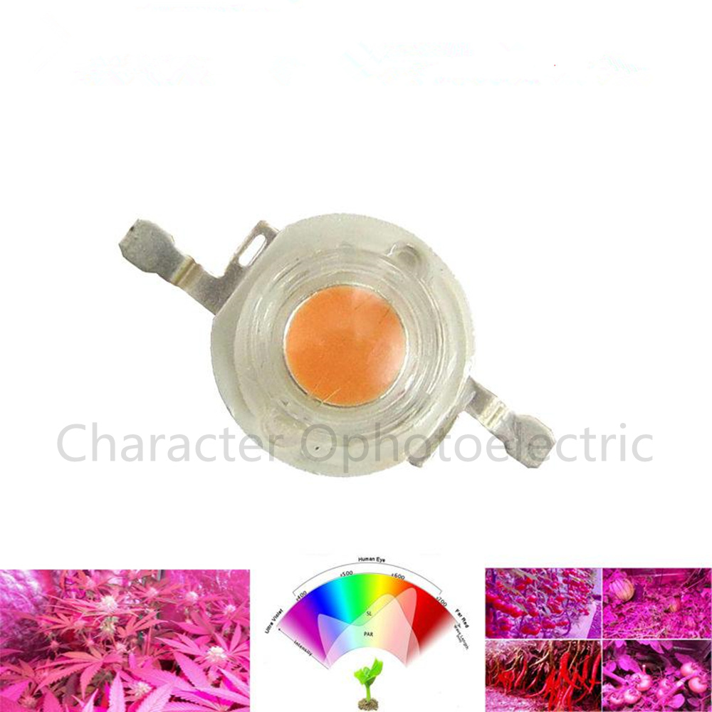 100pcs 1W 3W Full Spectrum LED Chip Diode 400 840nm Wavelength Pink 30mil 45mil for indoor Plant Grow and Hydroponic LED Lamp in Light Beads from Lights Lighting