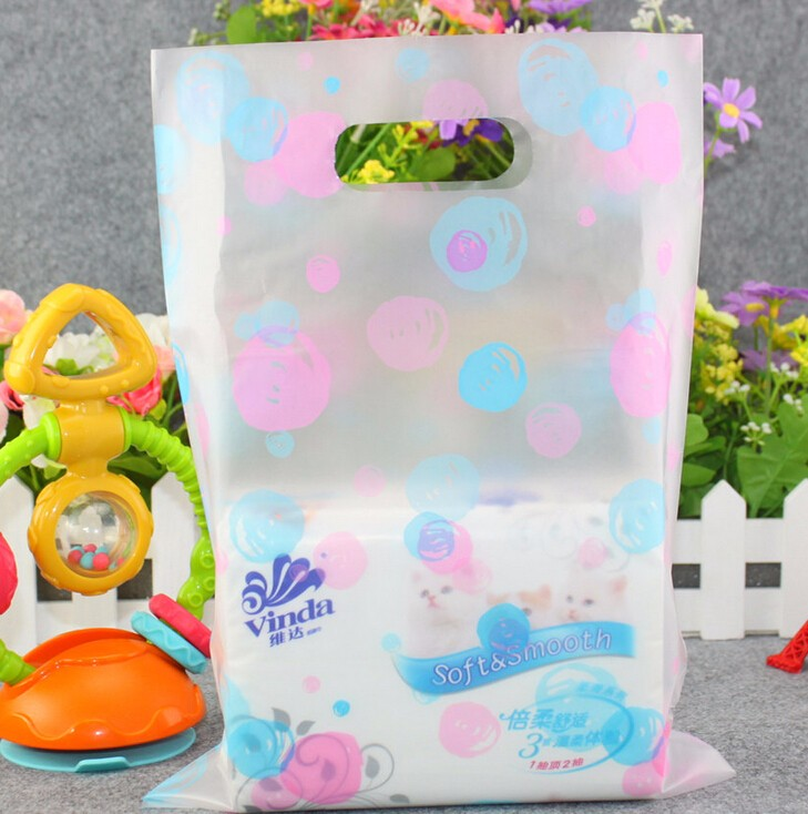 shopping plastic gift bags with handle/ clear plastic bags shopping large for clothes 20x29cm