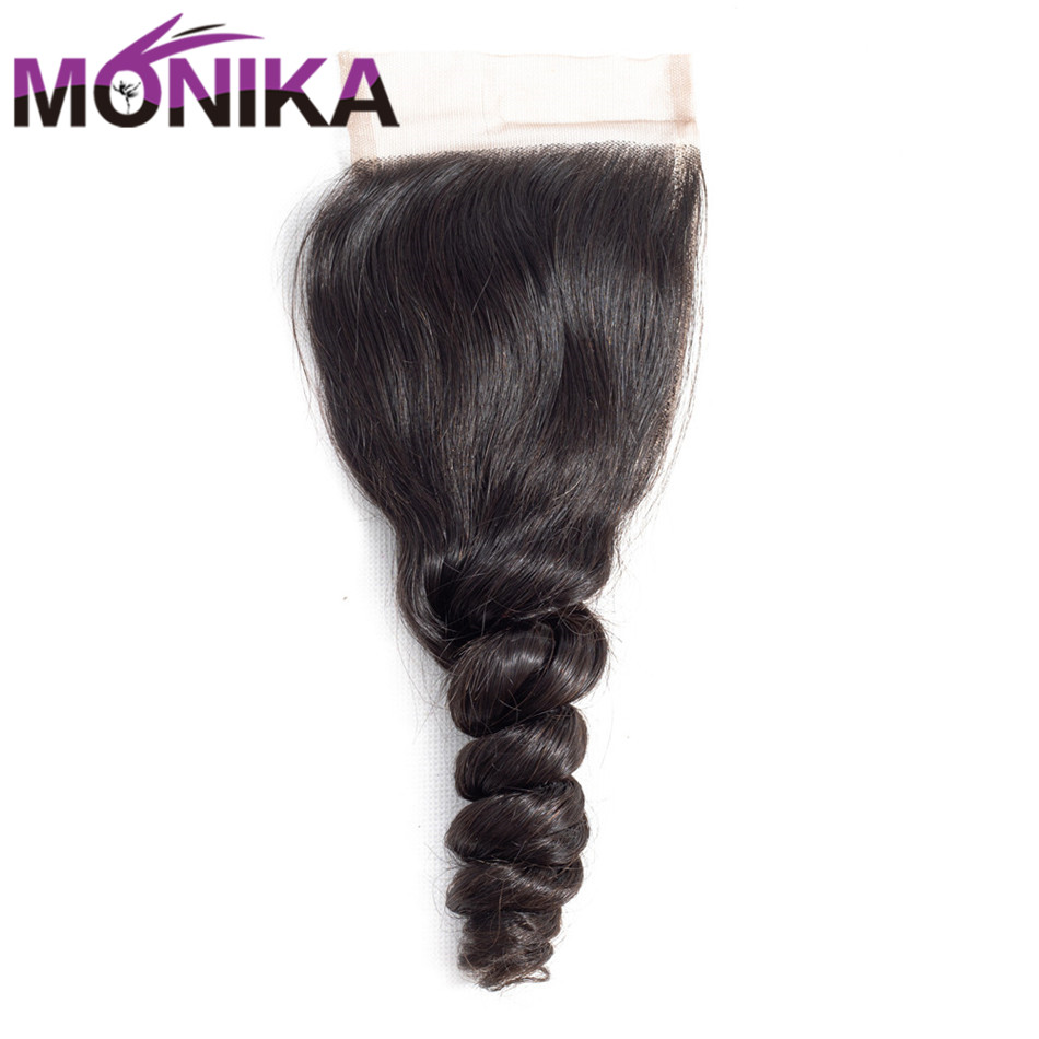 Monika Brazilian Loose Wave Lace Closure 4*4 Middle/Free/Three Part Swiss Lace Closure Natural Color