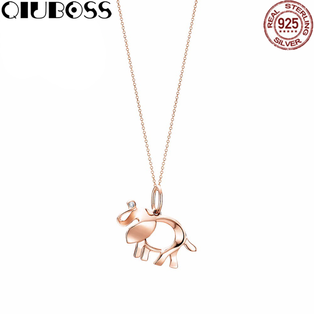 QIUBOSS TIFF 925 Sterling Silver 45CM The elephant pendant necklace Pendants & Necklaces Women Jewelry Free Package Mail цены