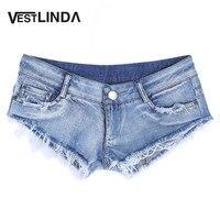 VESTLINDA Sexy Denim Shorts Jeans Low Waist 2017 Summer Women Short Feminino Frayed Pockets Zipper Fly