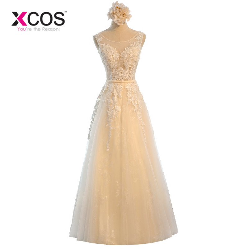 XCOS Champagne   Bridesmaid     Dresses   Long for Wedding Guests Sister Party Formal   Dress   Plus Size   Dress   Prom   Dresses   Real Photo