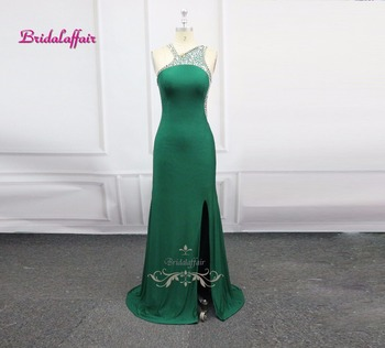 Real Photos Sexy Party Occasion Long Evening Dress 2018 video Teal Color  Spandex Beading Crystal Formal Celebrity Dress