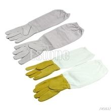1pair Protective Vented Long Sleeves Goatskin Bee Keeping Tool Beekeeping Gloves G03 Drop ship