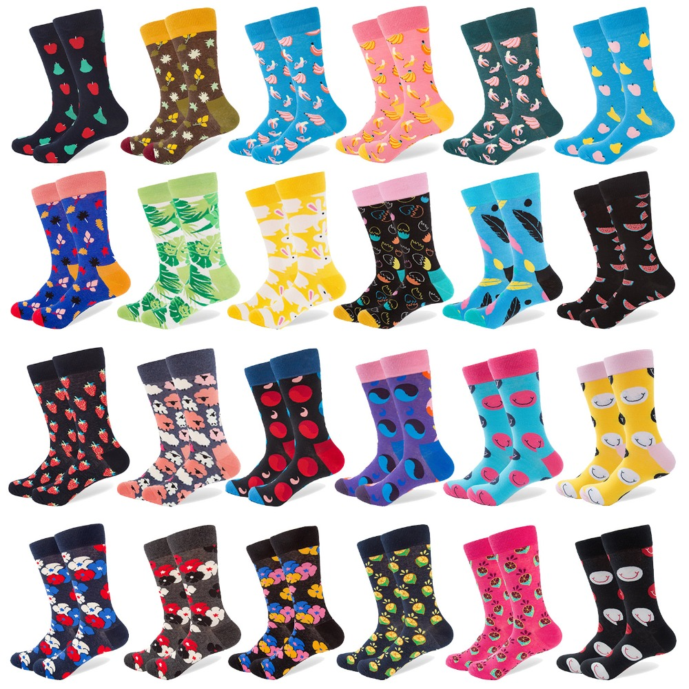 1 Pair New Men Socks Combed Cotton Leaves Banana Smile Pattern Long Tube Crew Happy Socks Colorful Party Wedding Dress Socks