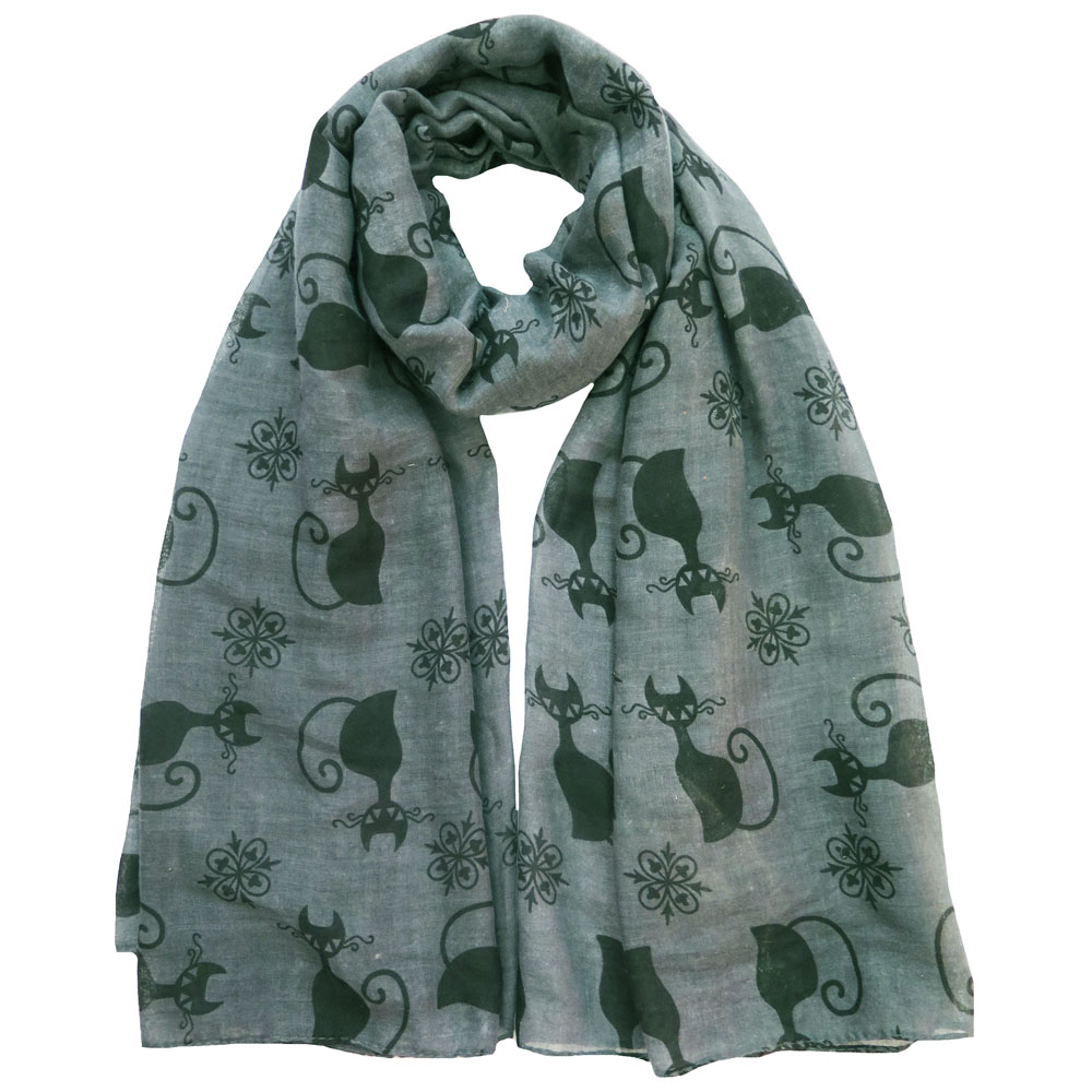 Black Cat Kitten Print Scarf grey
