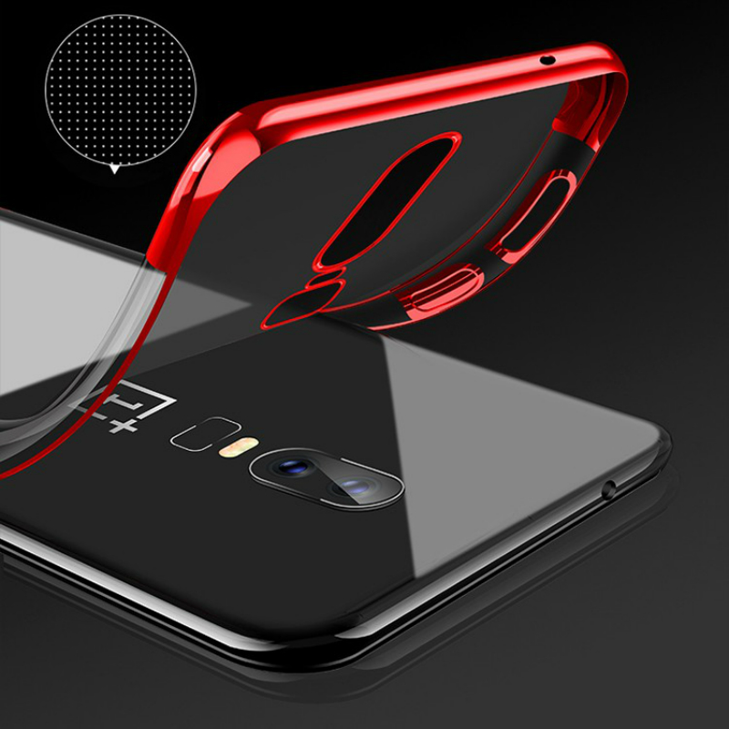 Oneplus 7 Case Cover Luxury Transparen Soft Silicone Silm Plating TPU Edge Back Cover For Oneplus7 7Pro Onepls6T 6 Phone Coque in Fitted Cases from Cellphones Telecommunications