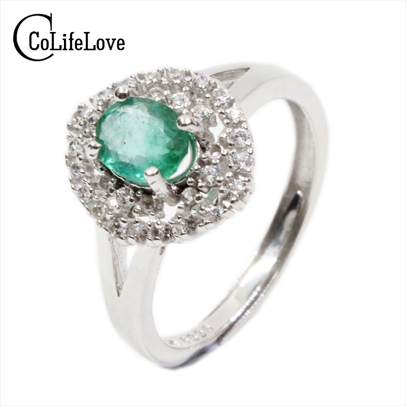 где купить Luxurious emerald ring for wedding 4 mm * 6 mm 0.4 ct natural kenya emerald silver ring sterling silver emerald ring for woman дешево