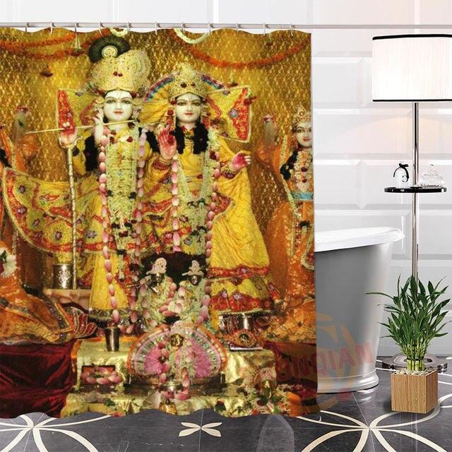 €22.0 27% de réduction|La salle de bains moderne de rideau de douche de  tissu de dieux indiens uniques faits sur commande qui respecte  l\'environnement ...