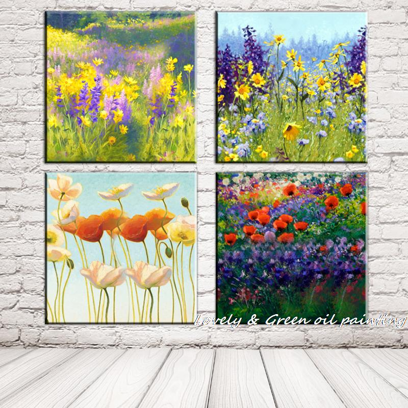 Free Shipping 100%Handpainted Modern Abstract Oil Painting Flower Fields Landscape Canvas Art Picture For Home