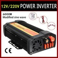 Inverter 6000W 12 V to AC 220 Volt LCD Digital Max 12000 Watt Modified Sine Wave Converter Car Charge Converter Transformer USB