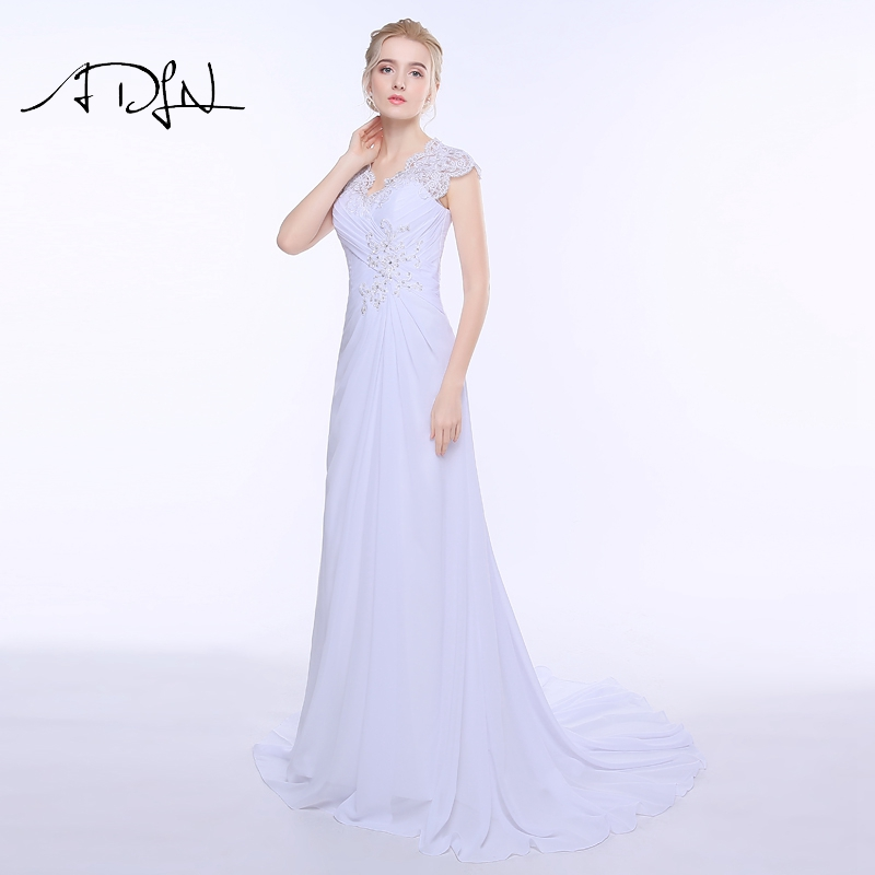 ADLN V-ausschnitt Chiffon Brautkleider Plus Size Sexy Open Back ...