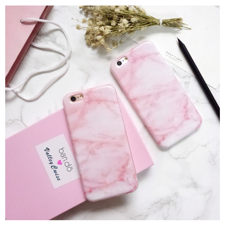 Hottest Glossy Granite Pink Marble Phone Case for iPhone 6s 6 6Plus 6+ 7 7Plus Soft TPU Silicon Funda Cases Back Cover