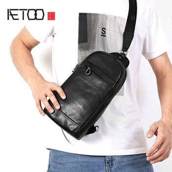 AETOO Men's chest bag leather bag top layer leather shoulder Messenger bag handmade original leisure bag цена 2017
