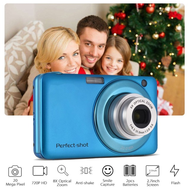 24MP Portable Colorful Compact HD 8x Focus Zooming Photo Video Record Digital Camera with JPEG Avi SD card Anti-shake Kids Gifts