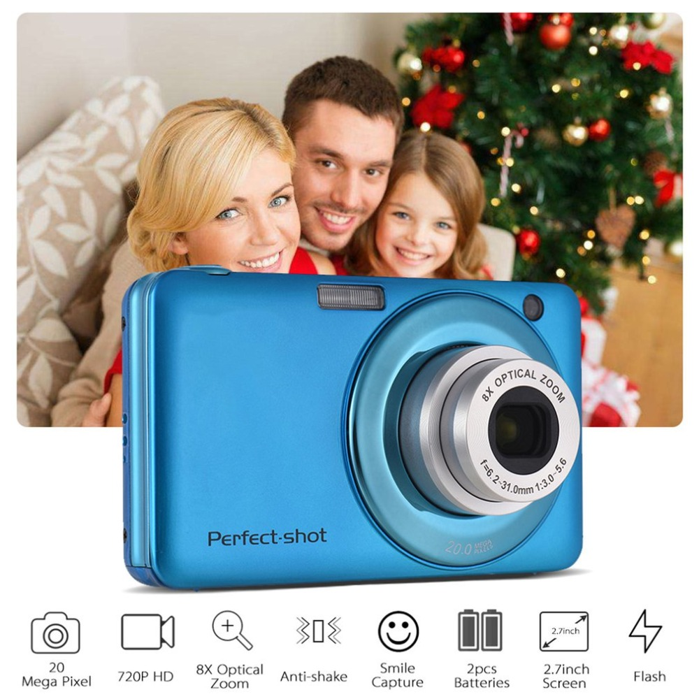 24MP Portable coloré Compact HD 8x Focus zoom Photo vidéo enregistrement appareil Photo numérique avec JPEG Avi carte SD Anti-secousse enfants cadeaux