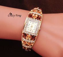 Luxury Crystal Watch Women Flower Bracelet