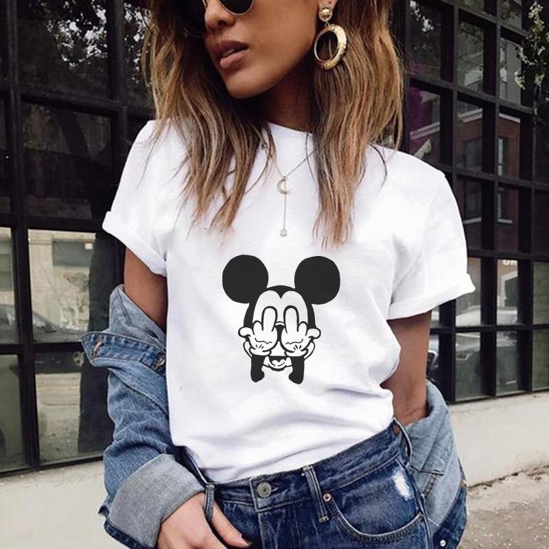 T Shirts Women 2018 Summer Mouse Text Printing Tshirt Harajuku Kawaii Tops Plus Size Street Wear Camisas Mujer Camiseta Feminina
