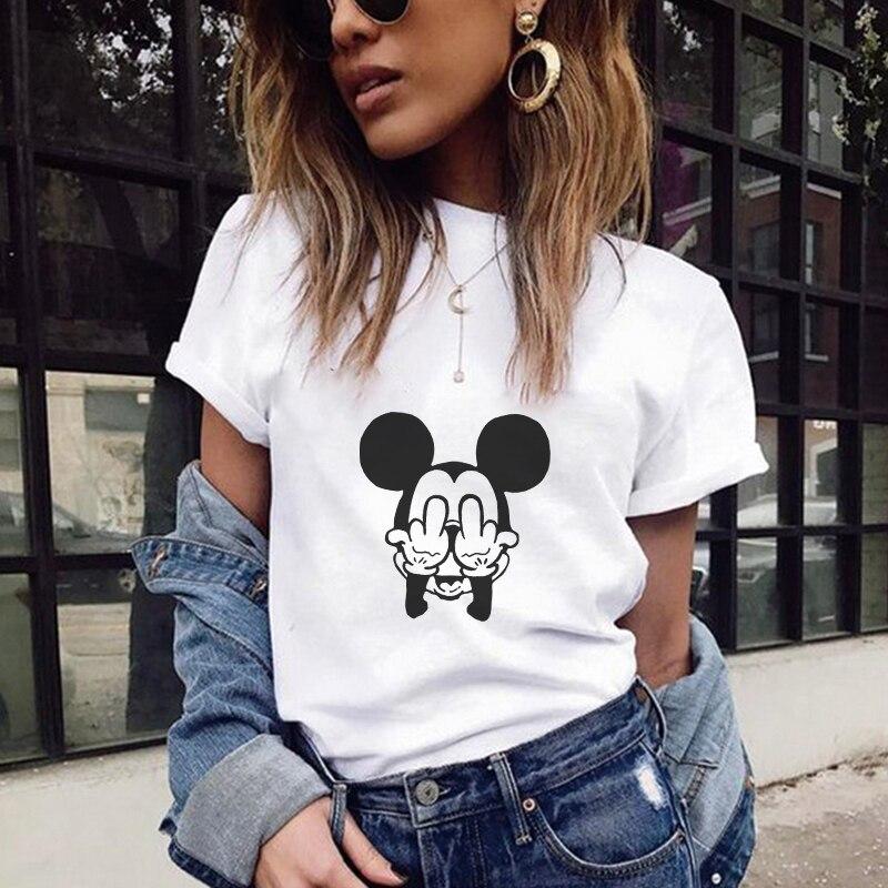 T-shirts femmes 2019 été souris impression de texte t-shirt Harajuku Kawaii hauts grande taille rue porter Camisas Mujer Camiseta Feminina