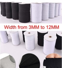 (Width from 3MM to 12MM) Flat Elastic Spool Cord Band for Quality Sewing - Stretchy String Making Waistbands, Straps