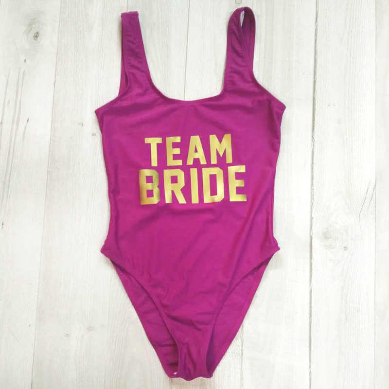 19e0b4acb05a1 ... TEAM BRIDE Letter Print One Piece Swimsuit Women Swimwear High Cut Bathing  Suit Sexy Bodysuit Monokini ...